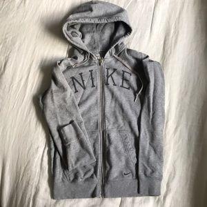 Grey Nike zip up hoodie size medium